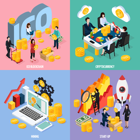 ICO blockchain isometric design concept with teamwork, cryptocurrency mining, marketing research and startup isolated vector illustration.