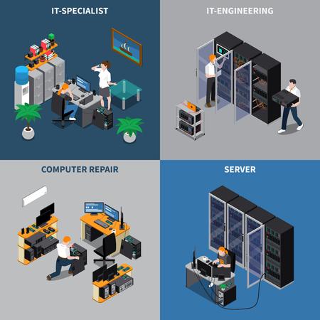 Le icone isometriche 2x2 messe con gli ingegneri della tecnologia dell'informazione e gli specialisti di riparazione del computer 3d hanno isolato l'illustrazione di vettore.