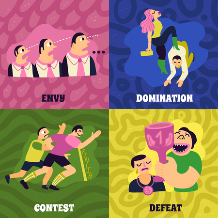 Competitive concept icons set with envy and domination symbols flat isolated vector illustration. Çizim