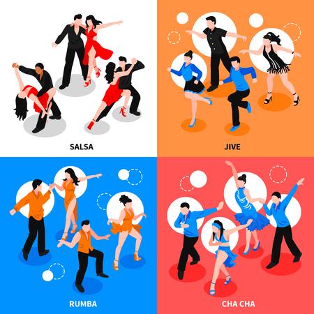 살사, jive, rumba, 차 카 격리 된 벡터 일러스트 레이 션 중 아이소 메트릭 사람들이 파트너 디자인 개념을 사용 하여 댄스.