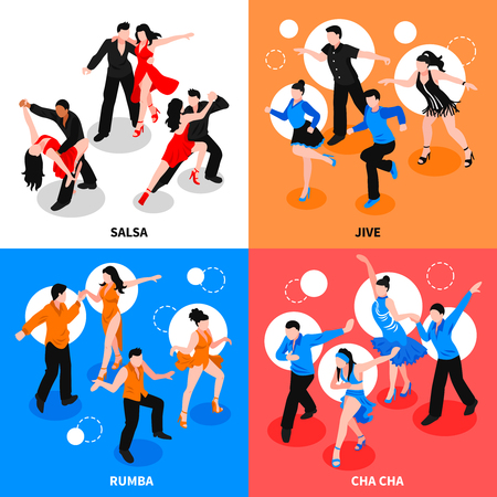 Dance with partner design concept with isometric people during salsa, jive, rumba, cha-cha isolated vector illustration. Stock Illustratie