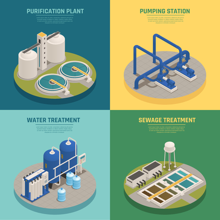 Le icone isometriche dei sistemi di pulizia dell'acqua 4 quadrano con l'illustrazione di vettore isolata fondo di depurazione e dell'impianto di depurazione.