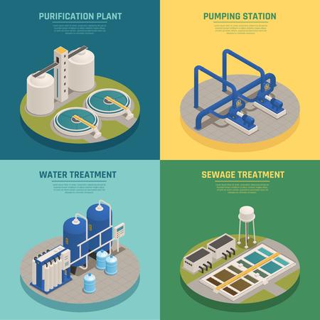 limpieza de agua elementos 4 iconos isométricos de la planta con la planta de purificación de agua y el fondo de la ilustración del vector aislado .