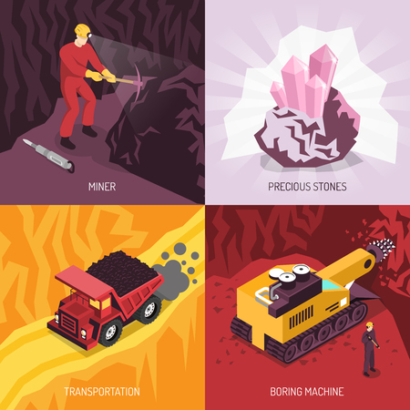 Gems precious stones mining 4 icons conceptual square composition with boring machine and transportation isolated vector illustration. Иллюстрация