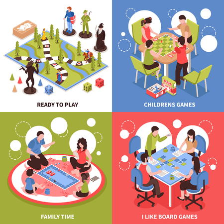 Isometric design concept with kids playing board games, family pastime, desktop field with pieces isolated vector illustration.