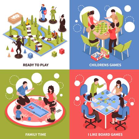 Il concetto di progetto isometrico con i bambini che giocano i giochi da tavolo, il passatempo della famiglia, campo da tavolino con i pezzi ha isolato l'illustrazione di vettore.