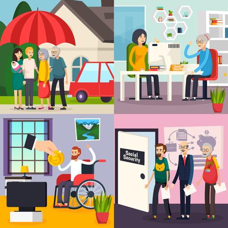 Concept de design orthogonal de sécurité sociale avec protection familiale, prestations de retraite, prestations d'invalidité et de chômage, illustration vectorielle isolée