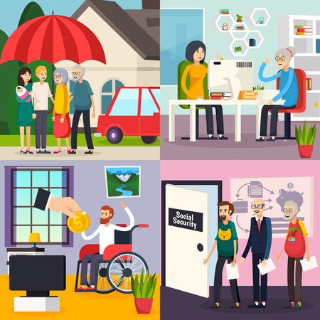 Social security orthogonal design concept with family protection, retirement welfare, disability and unemployment benefits isolated vector illustration.