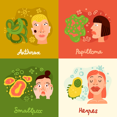 Human viruses concept icons set with smallpox and papilloma symbols flat isolated vector illustration.