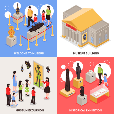 Museum isometric design concept with excursion for visitors, building architecture, historical exhibition isolated vector illustration.