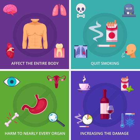 Rookgevaar 2x2 ontwerpconcept met factoren die de schade vergroten en reclame voor stoppen met roken cartoon vectorillustratie.