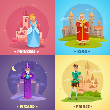 Fairytale heroes 2x2 design concept set of princess king prince wizard cartoon characters vector illustration.