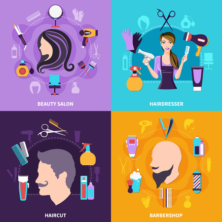 Four squares hairdresser concept set with beauty salon hairdresser haircut and barbershop descriptions vector illustration.