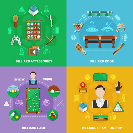 Billiards design concept with sports accessories, game, championship, room with lighting isolated on colorful background vector illustration.