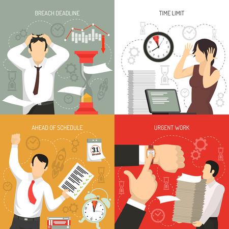 Cumpliendo con los plazos 4 concepto plano de los iconos con trabajar a continuación el horario y la violación de los límites de tiempo aislado ilustración vectorial.