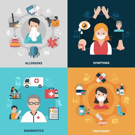 Allergy symptoms diagnostics and ways of treatment 2x2 icons set isolated on colorful backgrounds flat vector illustration Vectores