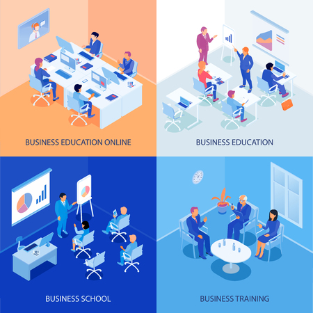 Business education isometric design concept with online school, discussions during training, lecturer and listeners isolated vector illustration.