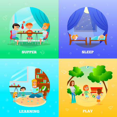 Kindergarten characters design concept with educator and kids during learning, supper, play, sleep isolated vector illustration.