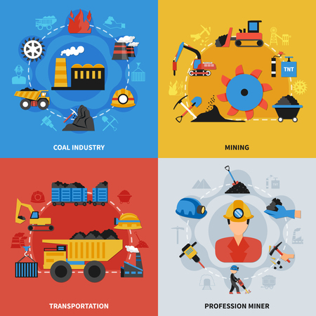 Colorful flat set of 2x2 icons with coal mining industry miners and transportation elements isolated vector illustration. Illustration