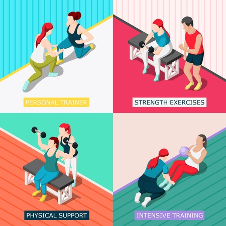 Personal sport trainers 2x2 design concept with physical support strength exercises intensive training square icons isometric vector illustration Illustration