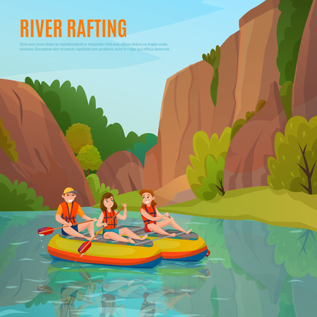 River rafting people composition with cartoon style. Human characters and mountain river landscape with editable text. Vector illustration.