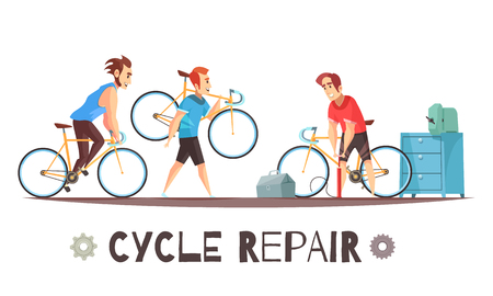 Bicycle repair mechanic shop with toolkit equipment and 2 cyclists with broken bikes cartoon advertisement vector illustration