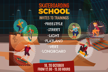 Skateboarding school poster with invite to training for flatland vert longboard street freestyle styles cartoon vector illustration Vectores