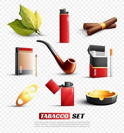 Set of tobacco products and accessories. Stock Illustratie