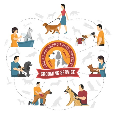 Grooming service round composition with hairdressing company emblem and silhouette images of pets with human characters. Vector illustration.