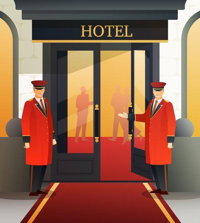 Doormen in red uniform near open door inviting to hotel, flat gradient composition vector illustration