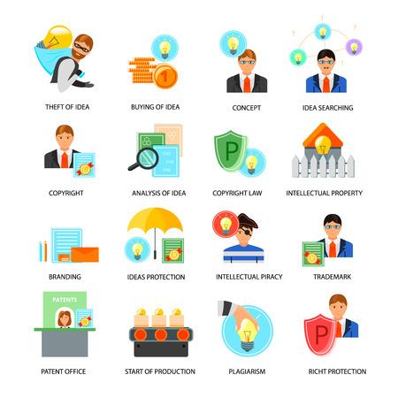 Collectie van intellectueel eigendom vlakke pictogrammen met ideeën rechten bescherming handelsmerken auteursrechten wetten patent kantoor geïsoleerd vector illustratie
