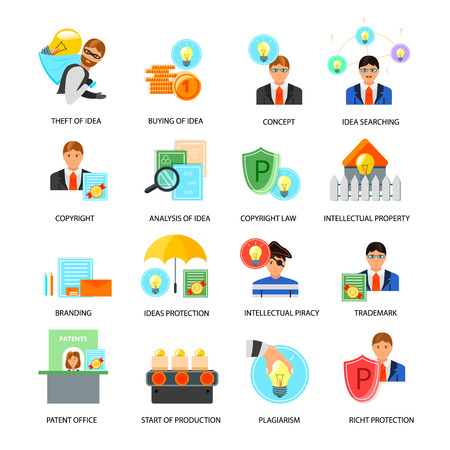 Intellectual property flat icons collection with ideas rights protection trademarks copyright laws patent office isolated vector illustration
