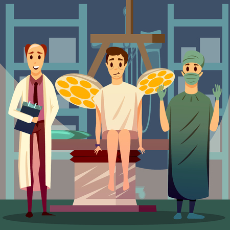 Plastic surgery orthogonal composition with medical staff and patient with marks on face for operation. Vector illustration.