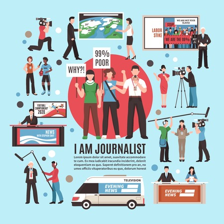 Journalist profession composition on blue background with live reportage, tv news program, weather forecast, interview. Vector illustration.