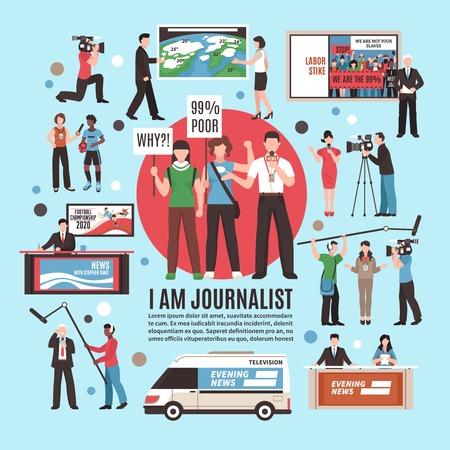 Kompozycja zawodu dziennikarza na niebieskim tle z reportażem na żywo, programem telewizyjnym, prognozą pogody, wywiadem. Ilustracji wektorowych.