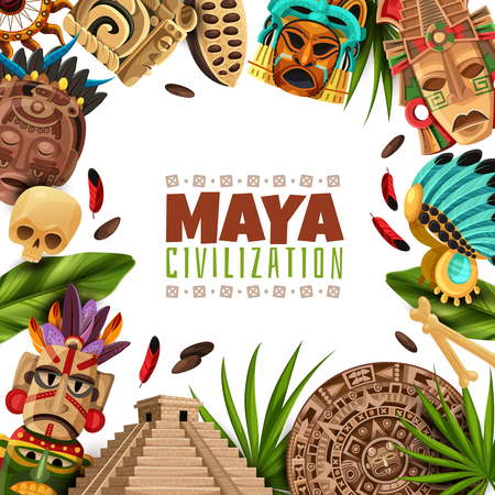 Maya civilization cartoon frame with Chichen Itza pyramid Mayan calendar masks and accessories of ancient Aztecs. Vector illustration.