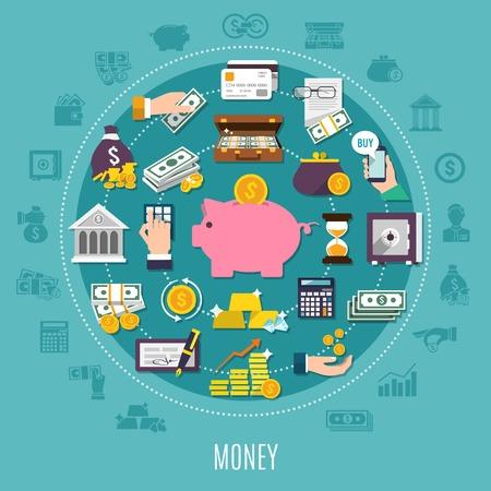 격리 된 은행 요소 또는 아이콘 집합 큰 돈을 벡터 일러스트 레이 션에 결합 된 돈을 평면 라운드 조성