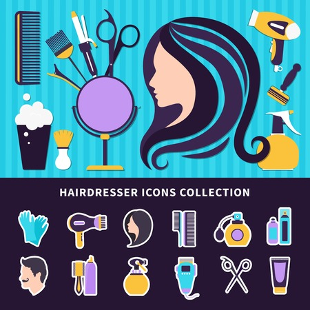 Hairdresser colored composition with elements of style and tools for barbershop and beauty salon. Vector illustration. 向量圖像
