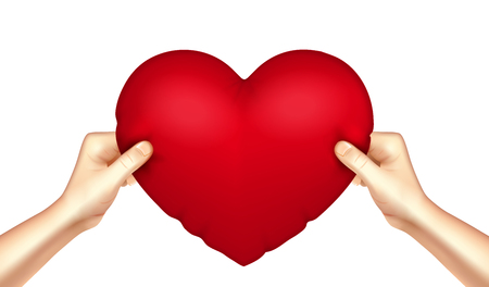 Heart shaped red cushion pillow in human hands realistic love symbol close-up image. Vector illustration. Illustration