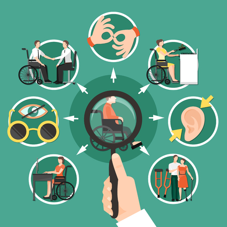 Disabled person composition with isolated icon set. Combined around disabled person who is sitting in a wheelchair. Vector illustration.