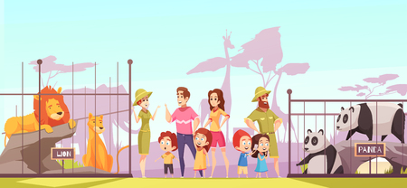 Family with kids at zoo between lions and pandas enclosures talking to animal curators. Cartoon vector illustration.