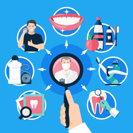 Dental round design concept with man hand holding magnifying glass for searching methods of treatment and prevention of dental diseases. Flat vector illustration. Illustration