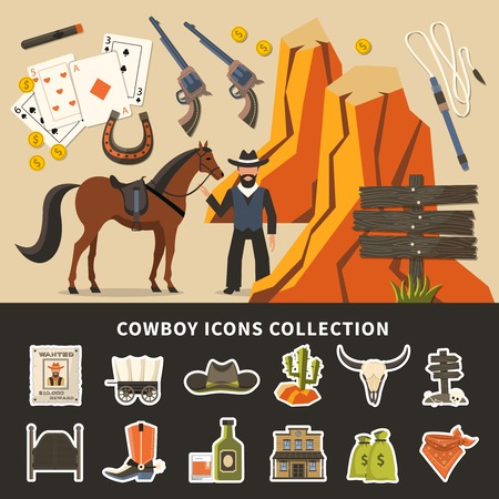 Cowboy icons collection with prairie elements, wanted poster, horse, alcohol, money, signpost, saloon doors. Isolated vector illustration. Imagens - 94305996