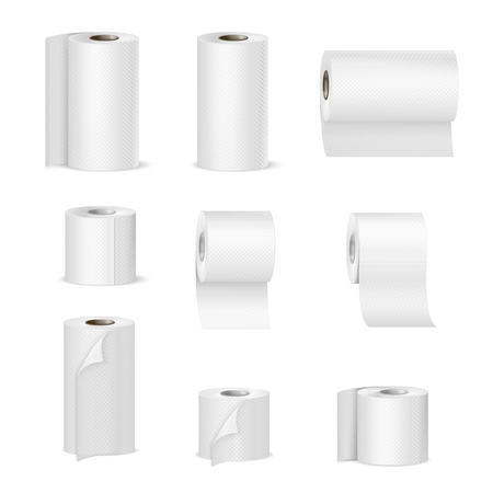 Paper towels and tissue toilet rolls. Realistic images collection in vertical and horizontal position. Isolated vector illustration.