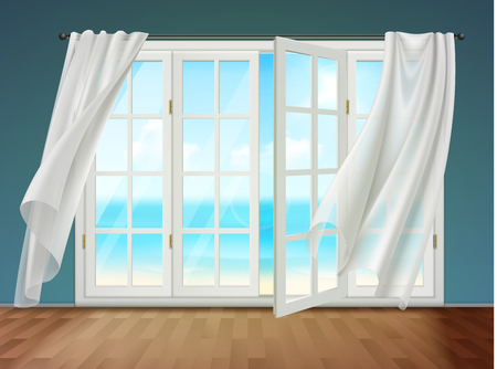 Room with view on sea from open window and fluttering curtains hanging on cornice. 3d vector illustration. Иллюстрация