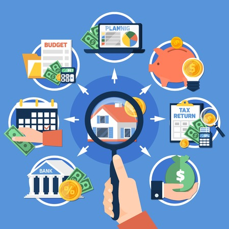Composition des taxes foncières sur fond bleu avec loupe à la main, maison, économies, planification budgétaire, rapport. Illustration vectorielle