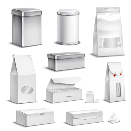 Tea blank white packaging set. Realistic isolated vector illustration.