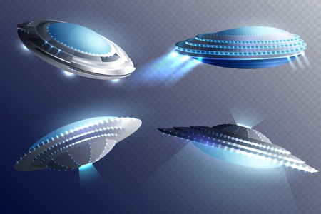 Set of glowing alien spaceships in saucer shape. Isolated on transparent background. 3d vector illustration. Vettoriali
