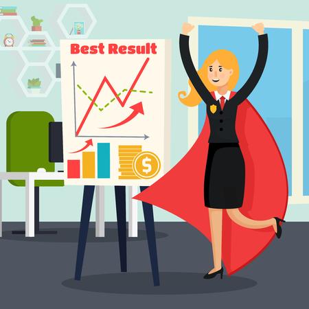사무실 인테리어에서 슈퍼 히어로 의상을 입은 여자와 성공적인 사업 직교 조성. 만화 벡터 일러스트 레이 션. 일러스트