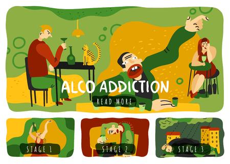 Alcohol addiction horizontal banners set with drinking symbols. Flat isolated vector illustration.